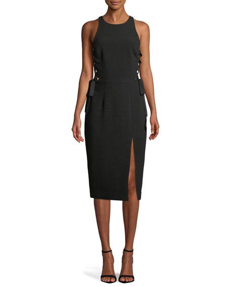 Laced In Sleeveless Split Midi Dress in Black