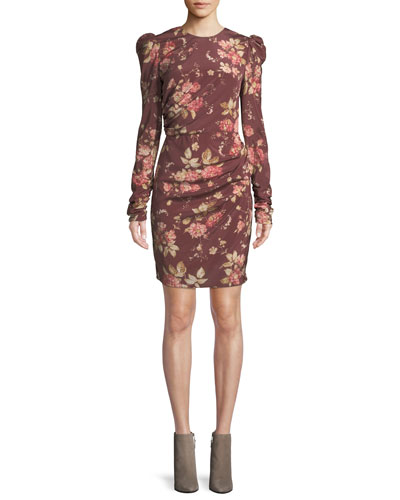 Unbridled Draped Floral-Print Mini Dress