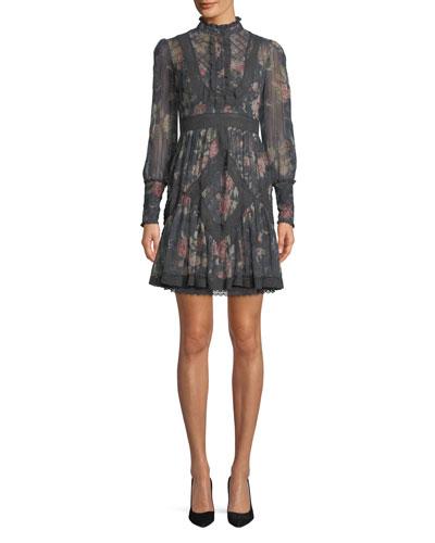 Unbridled Floral High-Neck Lace Short Dress