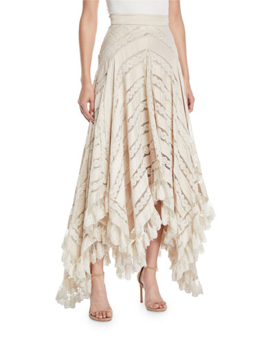 Unbridled Chevron Panel Lace Skirt