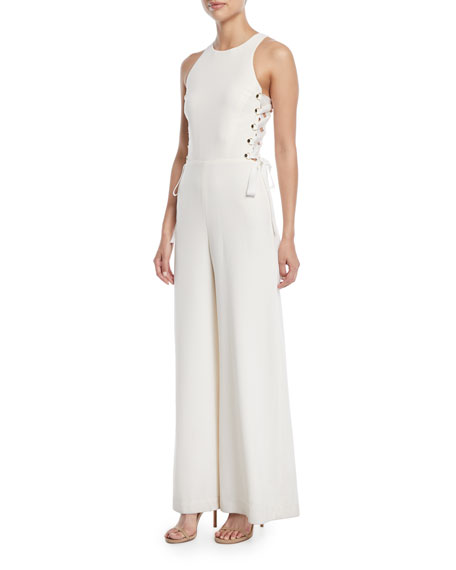 Laced In Wide-Leg Jumpsuit in White