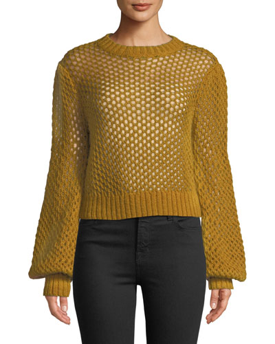 Unbridled Cropped Crochet-Knit Sweater