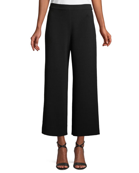 Cropped Wide-Leg Crepe Pants