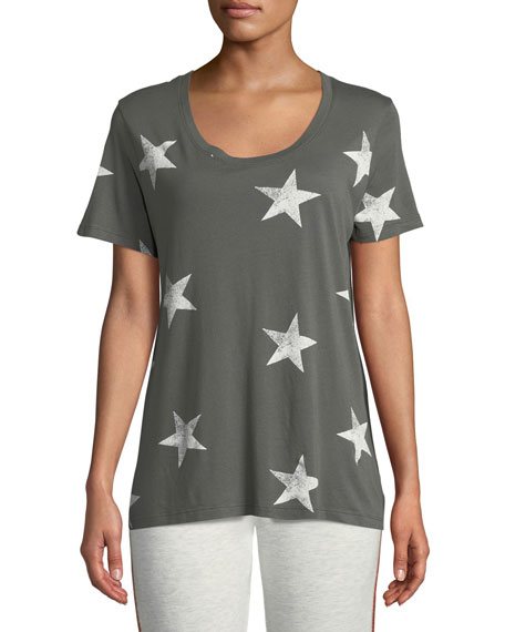 Monrow T-shirts Star-Print Scoop-Neck Short-Sleeve Relaxed Shirt, GREEN