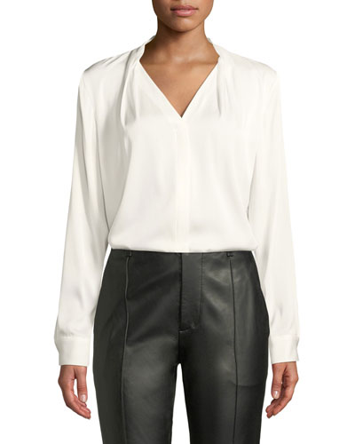 Rosalina Silk-Stretch Blouse
