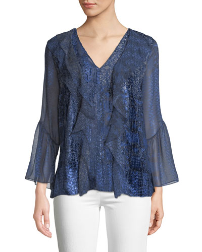 Beverly Ruffled Silk-Blend Blouse