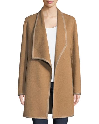 Christina Contrast-Trim Wool Coat