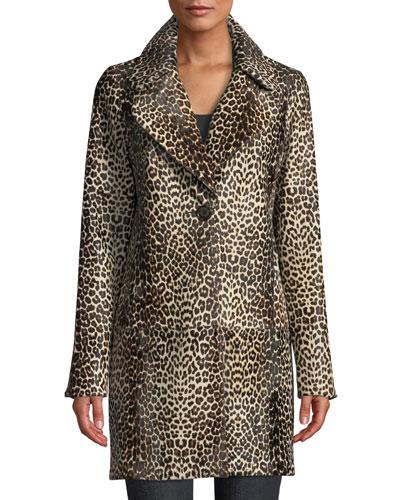Jaya Leopard-Print Calf Hair Coat