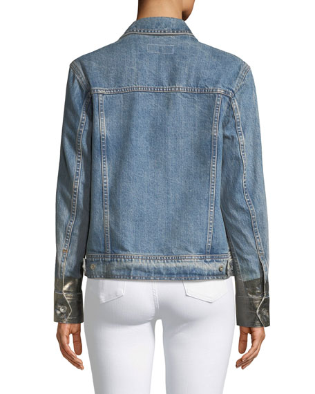 655c7b8d610a Rag   Bone Oversized Denim Jacket w  Metallic Cuffs