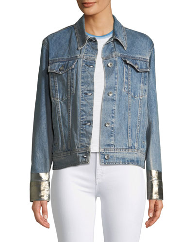 Oversized Denim Jacket w/ Metallic Cuffs