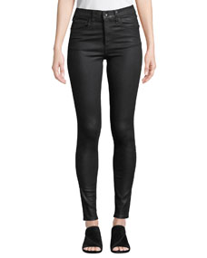 Coated High Rise Skinny Ankle Jeans by Rag & Bone