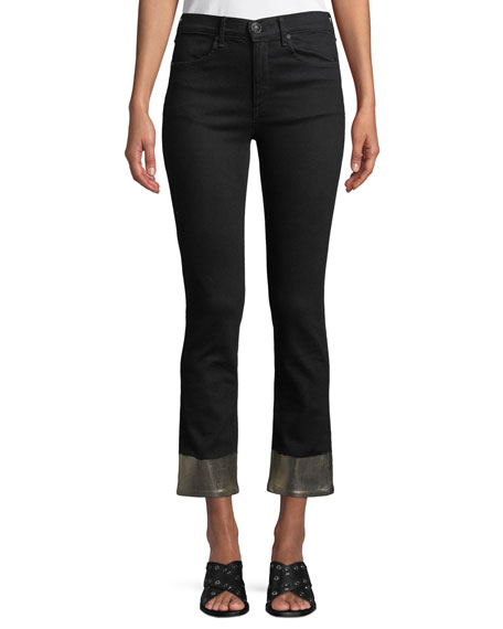 Ankle Cigarette Jeans w/ Metallic Cuffs