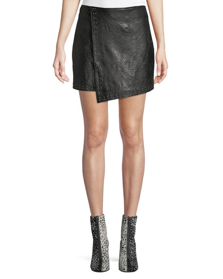 Orlanda Draped Studded Lamb Leather Skirt, Black