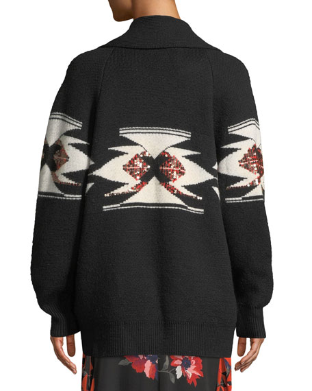 Faisal Sequin Button-Front Cardigan