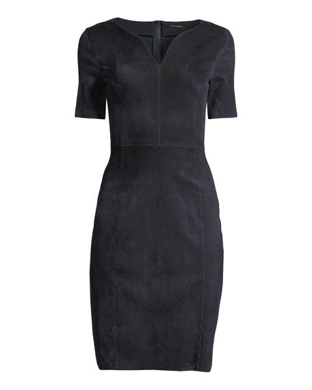 febc9046c360 Elie Tahari Emily Short-Sleeve Suede Sheath Dress