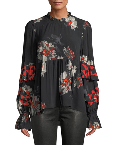 Ronette Floral-Print Ruffle Long-Sleeve Top