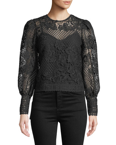 Rodia Cropped Floral Lace Long-Sleeve Top