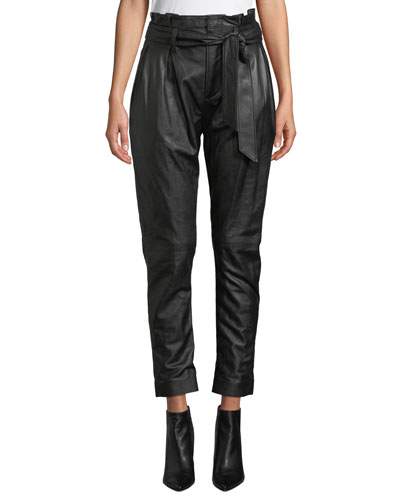 Adorabella High-Waist Belted Leather Pants