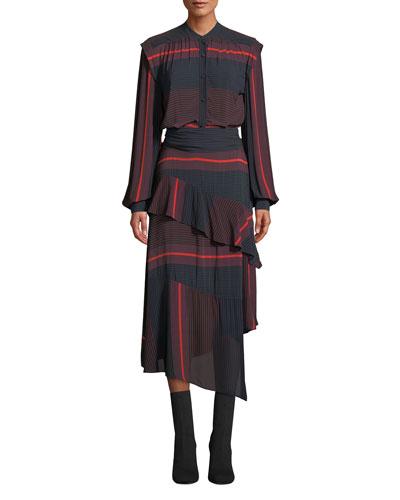 Roz Striped Long-Sleeve Ruffle Dress