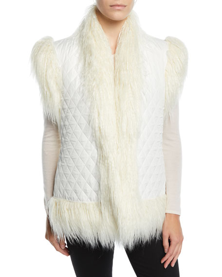 Norma Kamali REVERSIBLE QUILTED SHAGGY FAUX-FUR VEST