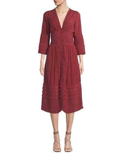 Azzedine V-Neck 3/4-Sleeve A-Line Midi Dress