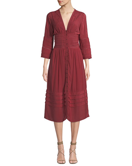 Azzedine V-Neck 3/4-Sleeve A-Line Midi Dress