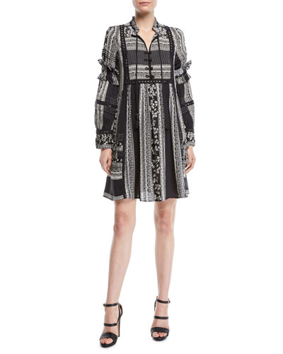 Keely Tie-Neck Long-Sleeve Mixed-Print Peasant Tunic Dress