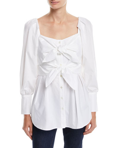 Sweetheart-Neck Knot-Front Long-Sleeve Cotton Top