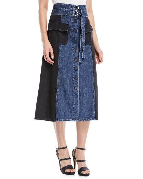 Two-Tone A-Line Midi Denim Skirt