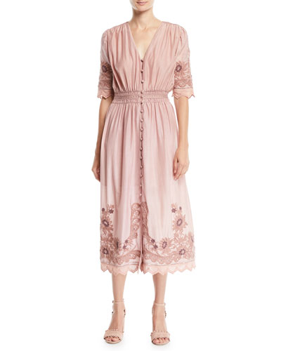 Greta Elbow-Sleeve Floral-Embroidered Midi Dress