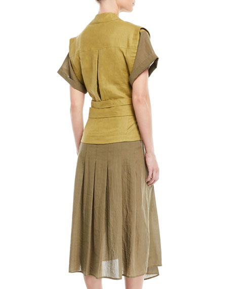 Kinney Double-Belted Combo Cotton-Linen Midi Dress