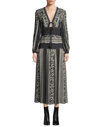 Keely Long-Sleeve V-Neck Paneled Floral-Print Midi Dress