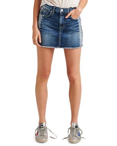 Viper Studded Raw-Edge Denim Mini Skirt