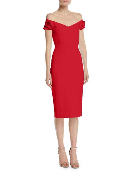 Chiara Boni La Petite Robe Kajsa Rose-Sleeve Off-the-Shoulder