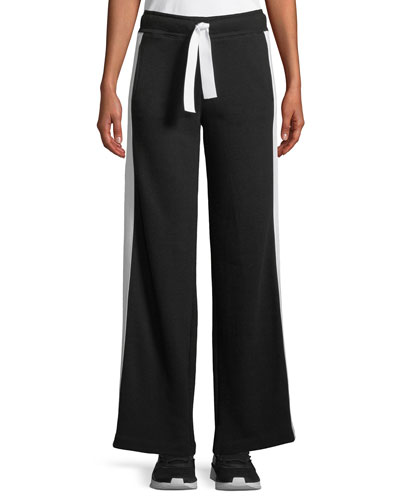Wide-Leg Striped Activewear Track Pants
