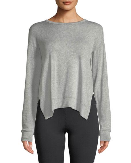 ALALA Heron Mesh-Back Crewneck Sweatshirt in Gray