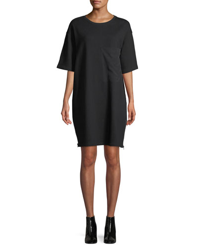 Side-Zip Crewneck Tee Dress with Oversize Pocket