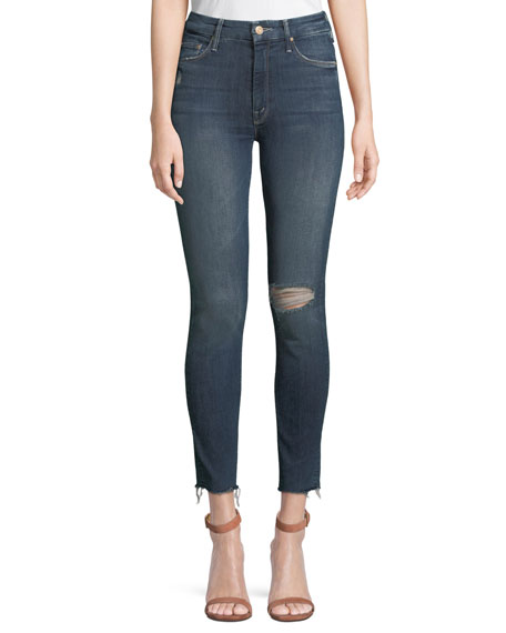 Mother Jeans LOOKER HIGH-WAIST DISTRESSED ANKLE SKINNY JEANS