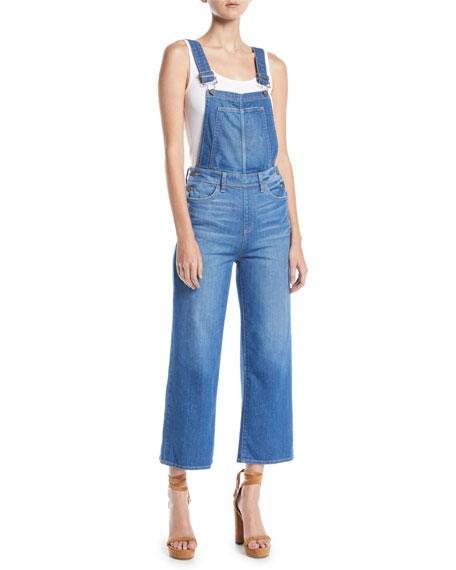 Nellie Cropped Wide-Leg Denim Overalls