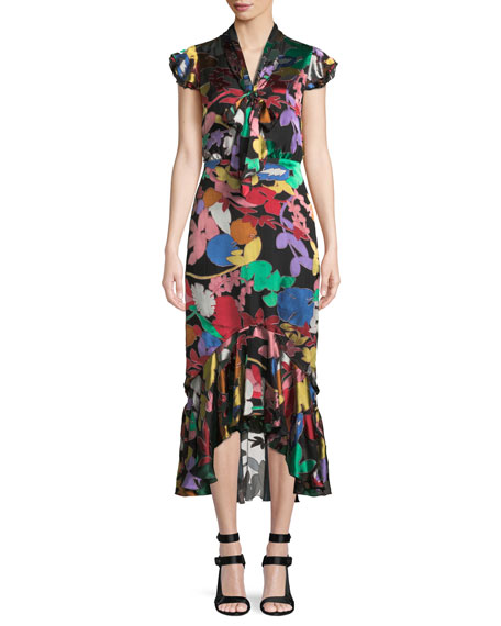 Lessie Floral Tie-Neck Flounce Dress in Black