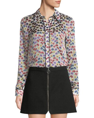 Alfie Button-Front Floral Long-Sleeve Top