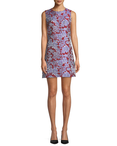 Coley Sleeveless Floral Crewneck Mini Dress