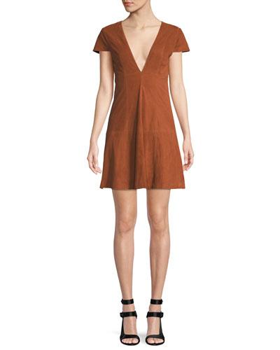Amara Suede Babydoll Mini Dress