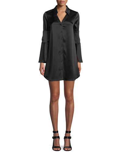 Halima Button-Front Double-Cuffed Dress