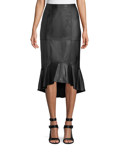 Kina Leather Midi Pencil Skirt w/ Flounce Hem