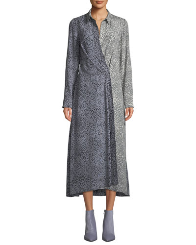 Karen Two-Tone Draped Midi Dress