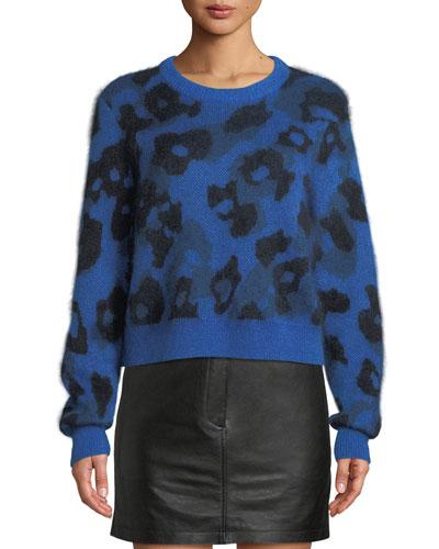 Leopard-Print Mohair-Blend Crewneck Sweater
