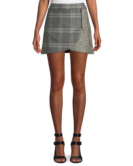 Alice + Olivia Lennon Colorblock Plaid Draped Mini