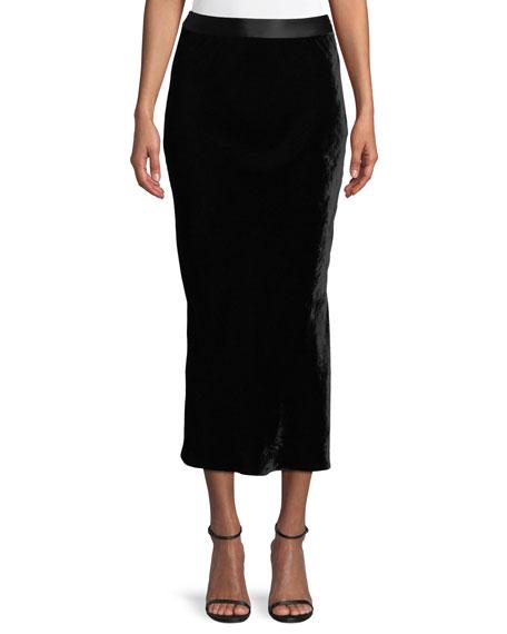Crinkle Velvet Slip Midi Skirt in Black