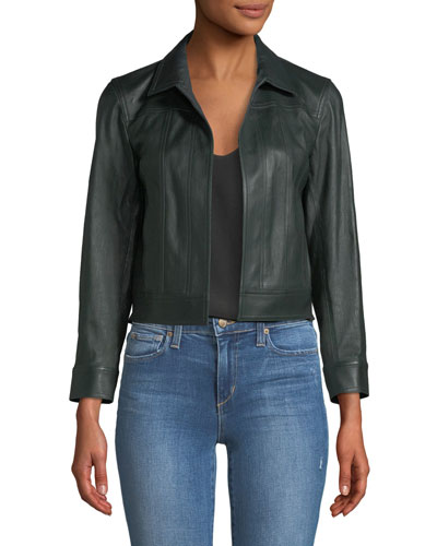 Shrunken Open-Front Leather Jacket